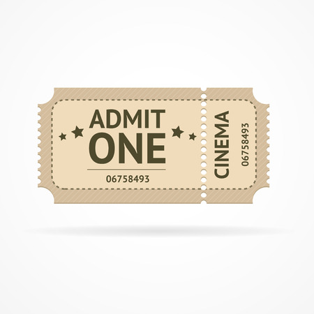 ticket icon: Vector illustration old ticket cinema isolated on a white background.