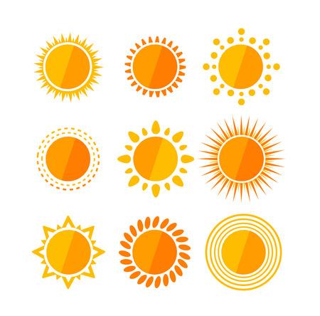 morning sunrise: Vector illustration sun flat set isolated on a white background.