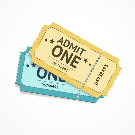 Vector illustration two colour ticket isolated on a white background. Vector