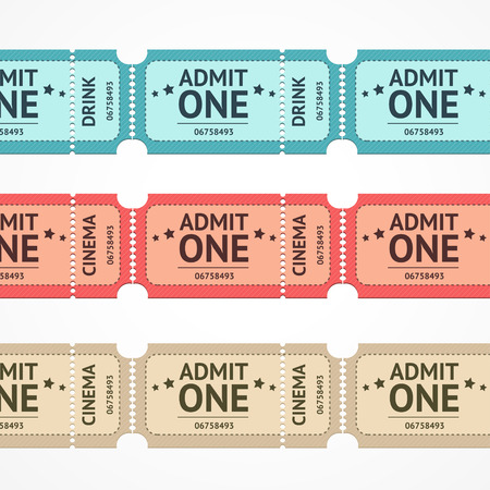old movie: Vector illustration color ticket set line isolated on a white background.