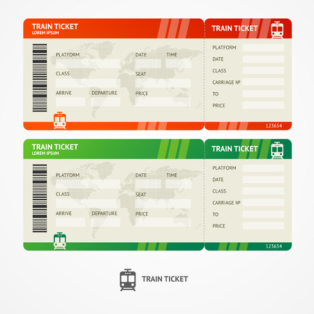 Vector illustration train tickets. Travel concept. Isolated on white.