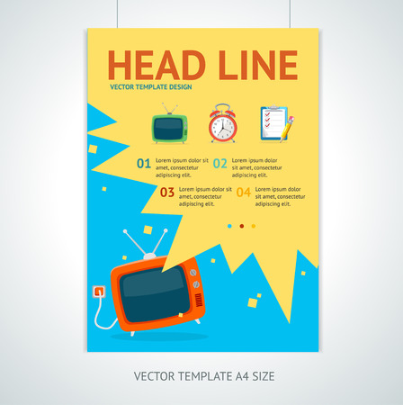 television: Vector illustration retro television brochure flyer design templates in A4 size.  Promotion marketing concept
