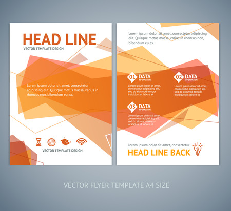 size: Vector illustration abstract  geometric orange wave brochure flyer design templates in A4 size Illustration