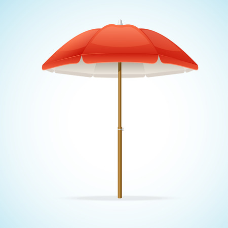 beach umbrella: Vector illustration Red Beach Umbrella isolated on background.
