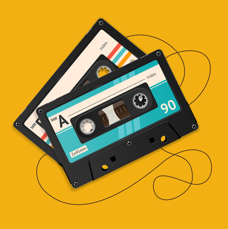 Vector Illustration broken vintage audio tape isolated on a orange background.