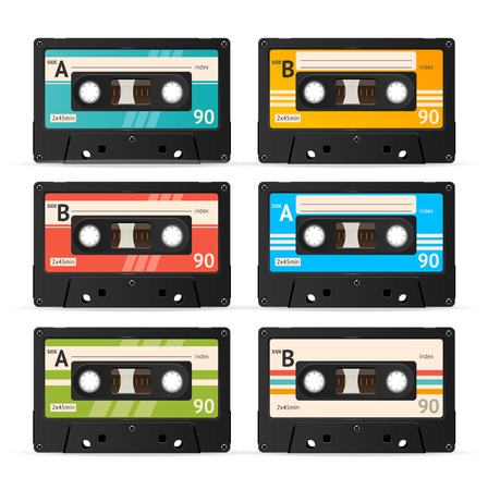 compact cassette: Vector Illustration Colorful Cassette Tape Collection isolated on a white background.