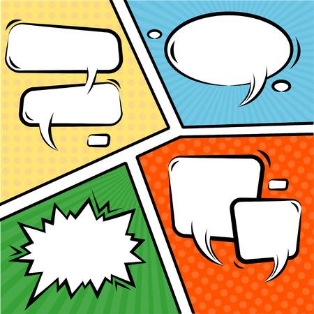 comics: Vector Illustration Comics Speech Bubbles Set over vintage background Illustration