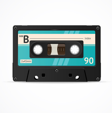 Vector Illustration Blue Cassette Tape isolated isolated on a white background.