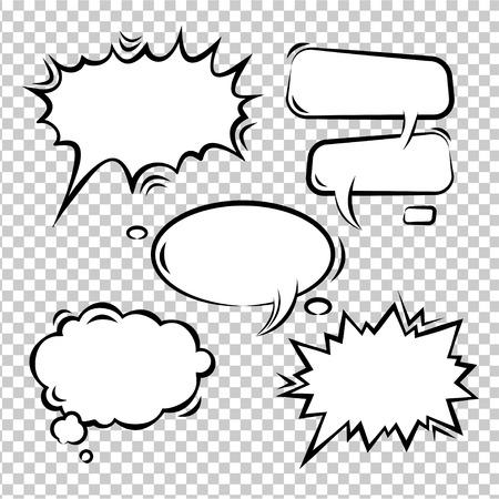 dialogo: Ilustración vectorial Conjunto de burbujas cómicas vacío