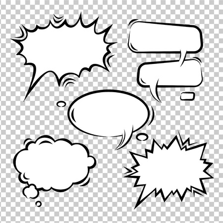 Vector Illustration set of comic bubbles empty Çizim