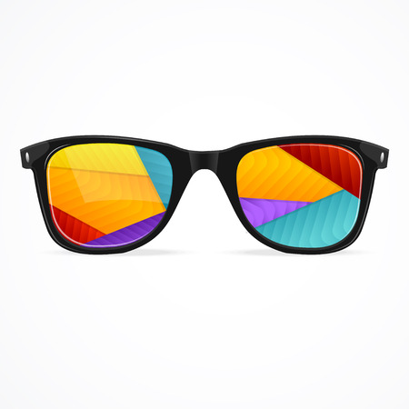 Vector Illustration sunglasses rainbow abstract background isolated on a white Ilustrace
