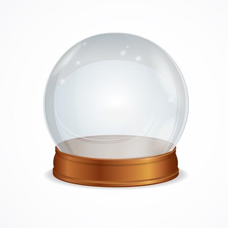 Vector Illustratie lege transparante kristallen bol die op een witte achtergrond. Het symbool van hekserij