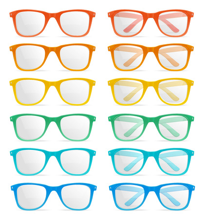 Vector Illustration glasses color set isolated on a white background. Fashionable summer accessory