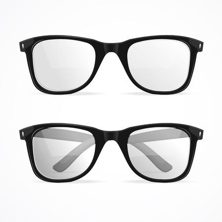 벡터 일러스트 레이 션 금속 프레임 괴짜 안경 흰색 배경에 고립입니다.