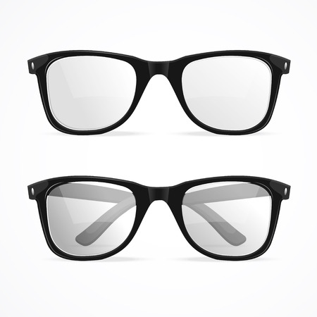 Vector Illustration metal framed geek glasses isolated on a white background. Ilustração
