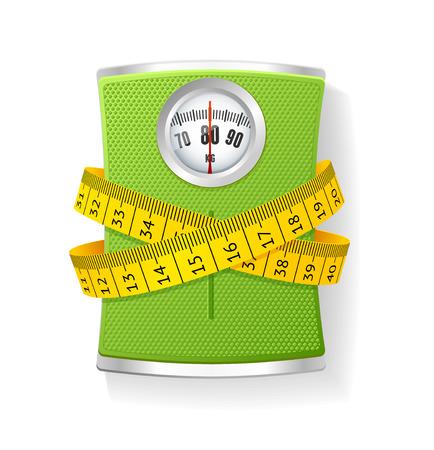 metro medir: Vector Illustration Pesos y cinta métrica. El concepto de pérdida de peso y la salud