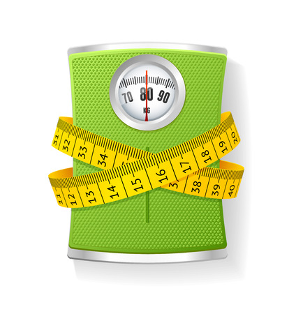 overweight: Vector Illustration Weights and tape measure. The concept of weight loss and health care