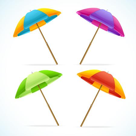 Ilustracji wektorowych Beach Umbrella Ustaw. Symbolem wakacjach