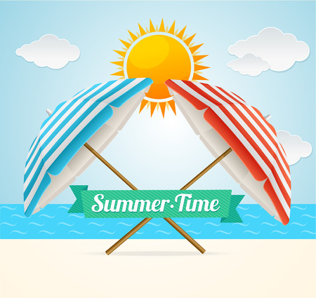 Vector illustration Beach Umbrella Summer Card. The concept of a happy summer holiday