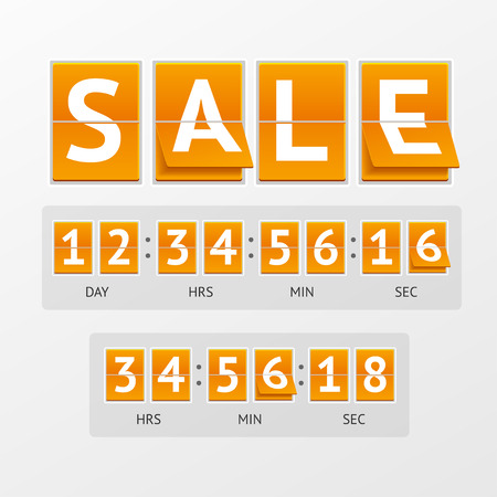 countdown timer: Vector illustration Countdown Timer Sale. White letters on orange boards. The concept of expiration time