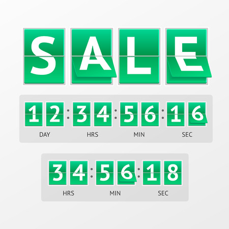 contagem regressiva: Vector illustration Countdown Timer Sale. White lettering on green boards.  Mechanical timtable