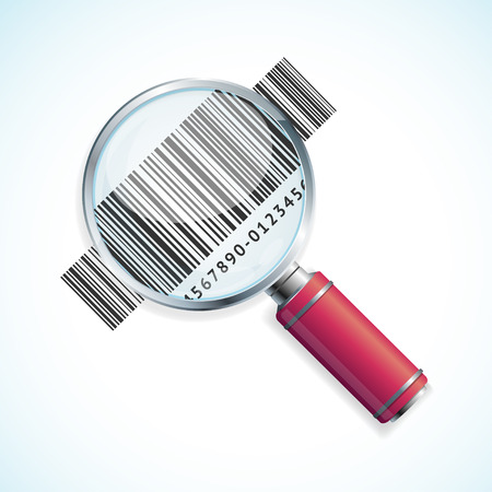 Vector illustration magnifier and barcode isolated on a white background. Business Symbol