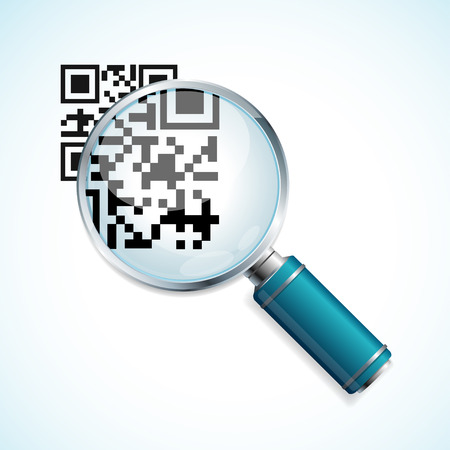 Vector illustration magnifier and black qr code identification isolated on a white background