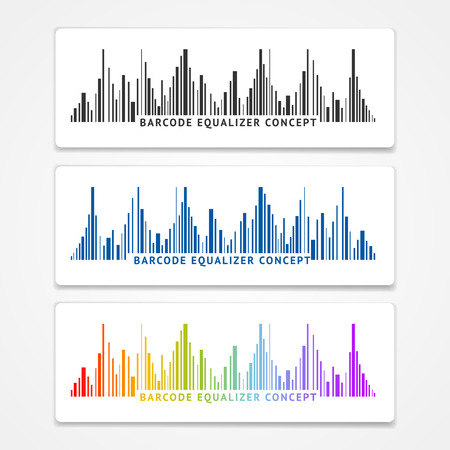 black and blue: Vector illustration color barcode equalizer concept. Black, blue and rainbow