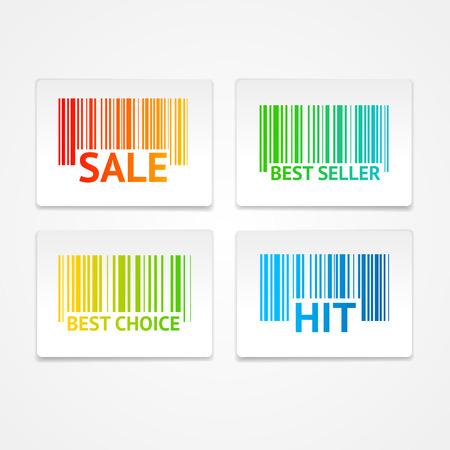 codigo barras: Ilustraci�n del vector etiquetas de venta de c�digos de barras. El concepto de mejor valor y una gran elecci�n Vectores