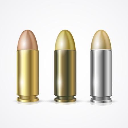 killing: Vector illustration Pistol Bullet Set isolated on a white background. Symbol of hitting the target