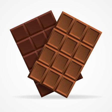 Vector illustratie Donkere en Milk Chocolate Bar die op een witte achtergrond.