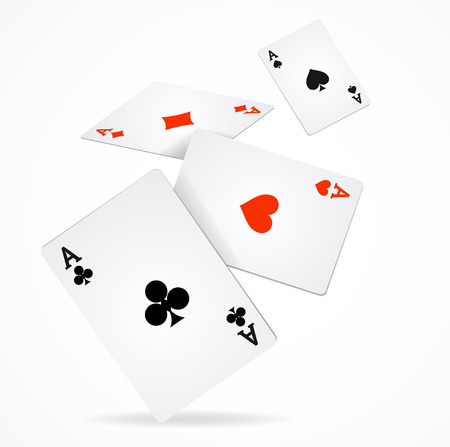 clubs diamonds: Vector illustration Playing Poker Cards Poster. Four aces of diamonds clubs spades and hearts fly