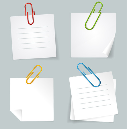 office documents: Vector illustration Color Metal Paperclip and White Paper Notes Set isolated on a grey background.