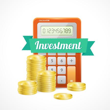 calculadora: Ilustraci�n del vector columnas de monedas de oro con la calculadora aislados en blanco.