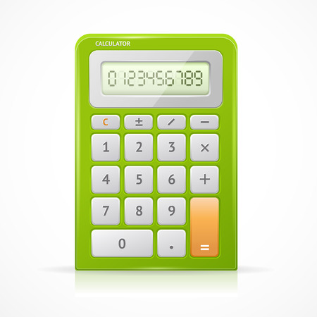 Vector illustration of electronic green calculator isolated on a white background.