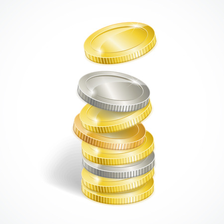 stack of coins: Vector illustration stacks of golden and silver coins isolated Illustration