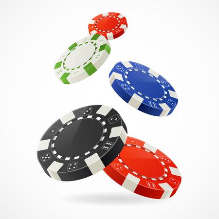 fichas de casino: Ilustraci�n vectorial Cayendo sobre las virutas de p�ker de juego