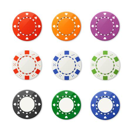 fichas casino: Ilustración del vector de nueve fichas de póquer conjunto. Vista superior Vectores