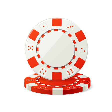 gambling chips: Vector illustration Gambling Red and White Poker Chips isolated on a white background. Illustration