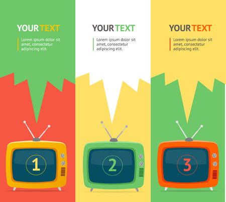 television antigua: ilustración vectorial conjunto de la bandera vertical con la televisión retro. Aislado. Diseño plana, opción banner. Vectores