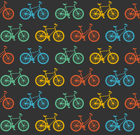 Vector illustration Bicycle Seamless Pattern. Colorful hipster bike on black