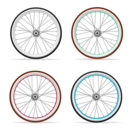 Vector illustration Bicycle colorful wheel and tires set