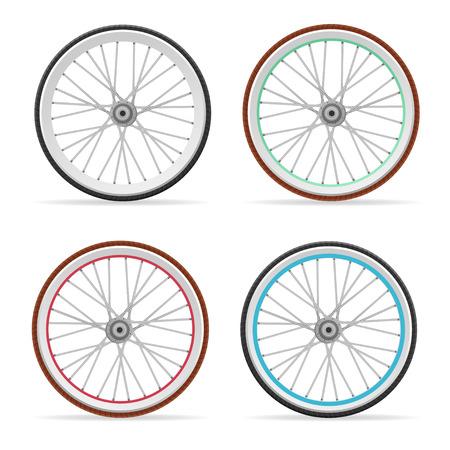 Vector illustratie Fiets kleurrijke wielen en banden stellen