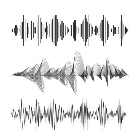 wave sound: Vector illustration eqalizer set black and white