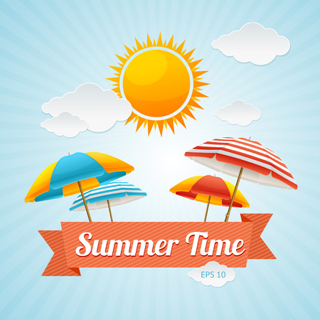 Vector illustration Beach Umbrella Summer Card. The concept of a fun summer holiday Illustration