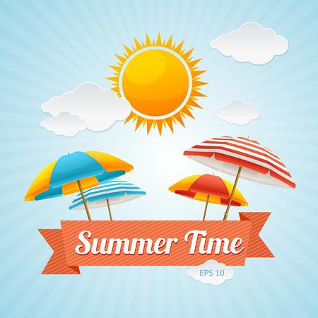 Vector illustration Beach Umbrella Summer Card. The concept of a fun summer holiday Illustration