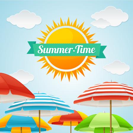 summer fun: Vector illustration Beach Umbrella Summer Card. The concept of a fun trip to a big company