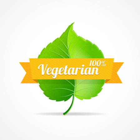 vegetarians: Vector illustration vegan label. The concept of one hundred percent vegetarian product. Can be used for restaurants and shops