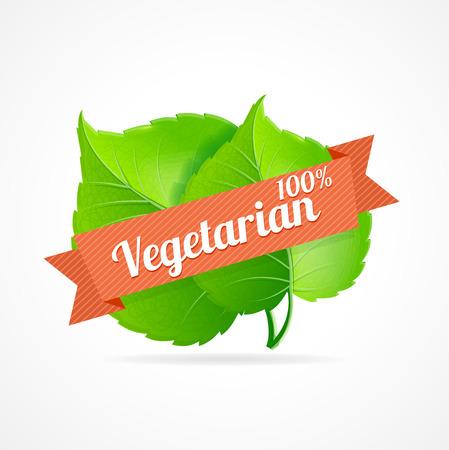 designation: Vector illustration vegan label. Designation of vegetarian dishes in the restaurant menu and vegetarian products Illustration