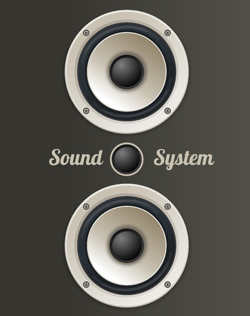 Vector illustration Vintage Audio speaker set. The concept of sound system Illustration
